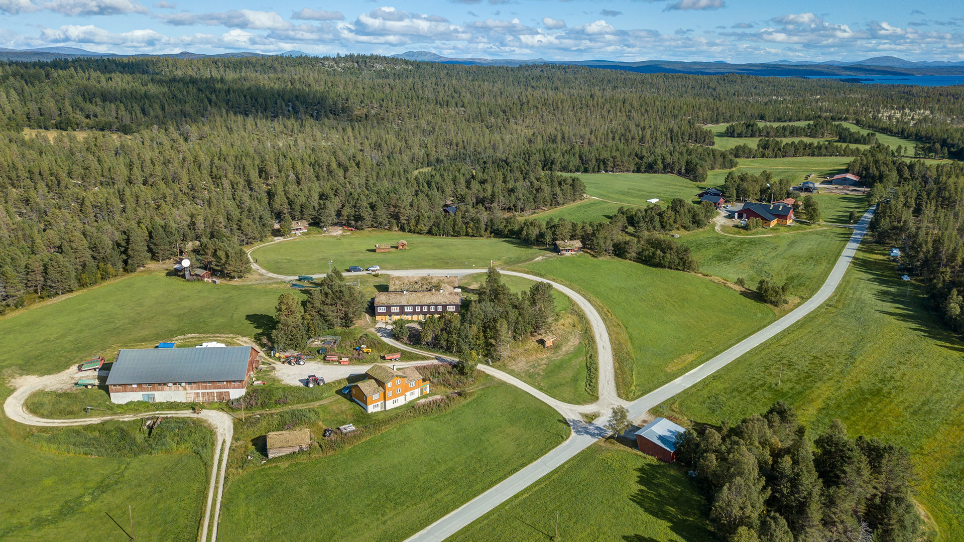Langen Gjestegård viewed from the air.